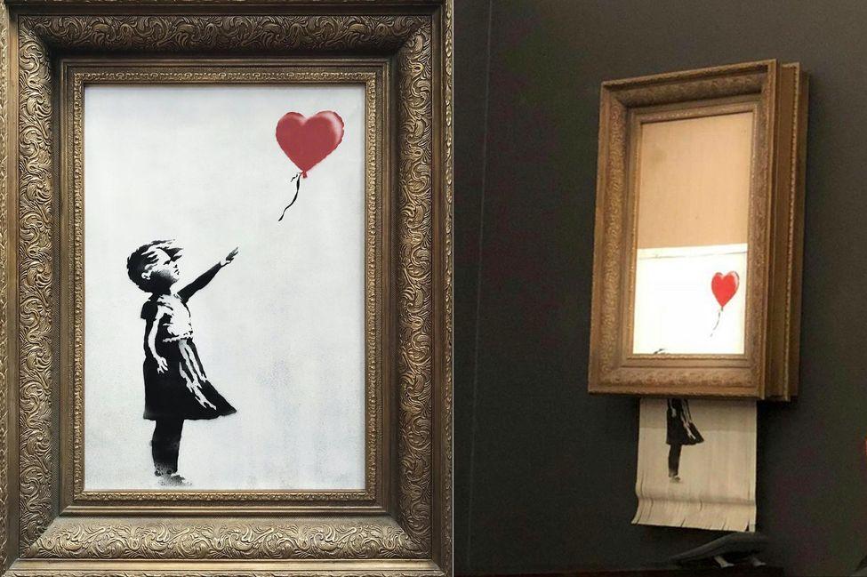 """Image: """"Girl with balloon"""" s'auto-détruit partiellement"""